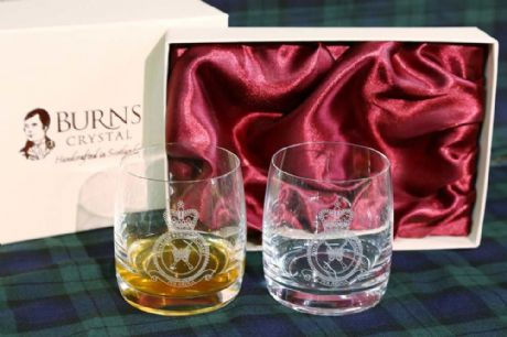 The RAF - A beautiful twin set of whisky glasses featuring the engraved crest of the Royal Air Force. A wonderful gift or special occasion present.